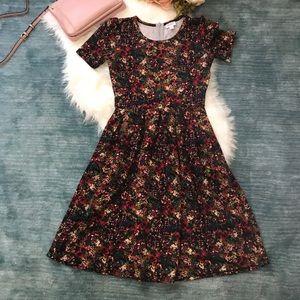LulaRoe Pink & Green Floral Print Amelia Dress